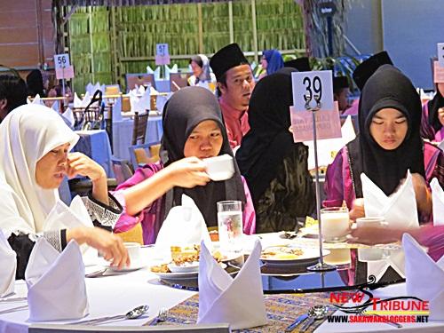 Muslim girls breaking their fast