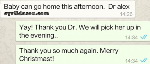 Text from Dr Alex telling us the good news