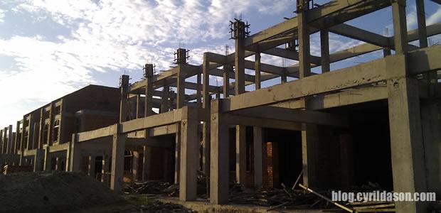 house, footing, slab, double storey terrace, pillars, construction