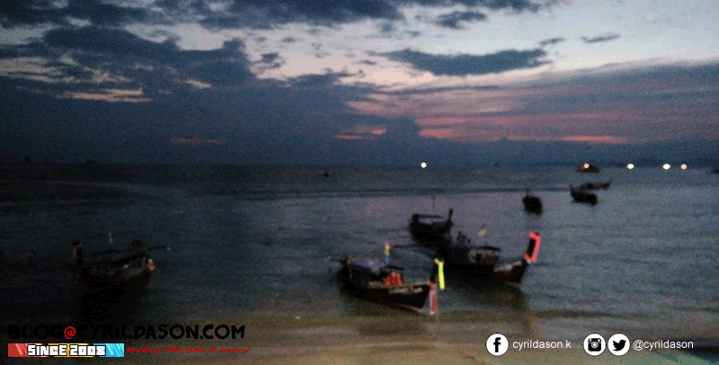 Krabi beach at night: It's a boat parking place
