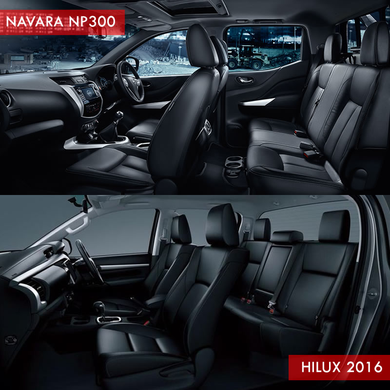 NISSAN NAVARA VS TOYOTA HILUX interior arrangement