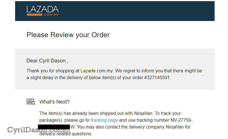 Lazada email of delay