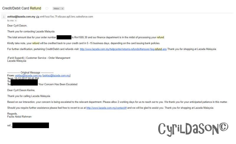 Lazada refund email