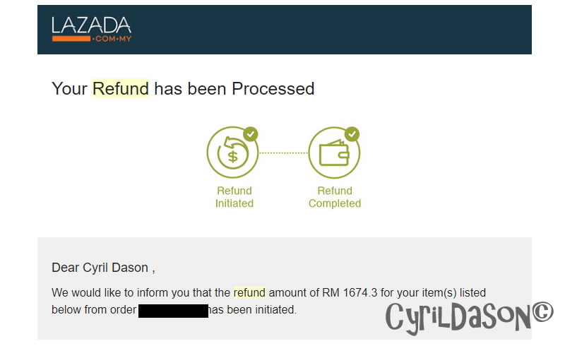 Lazada second refund email on 17 November