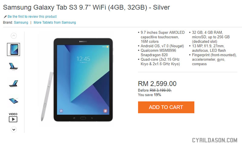 Samsung Galaxy Tab S3 on Lazada now