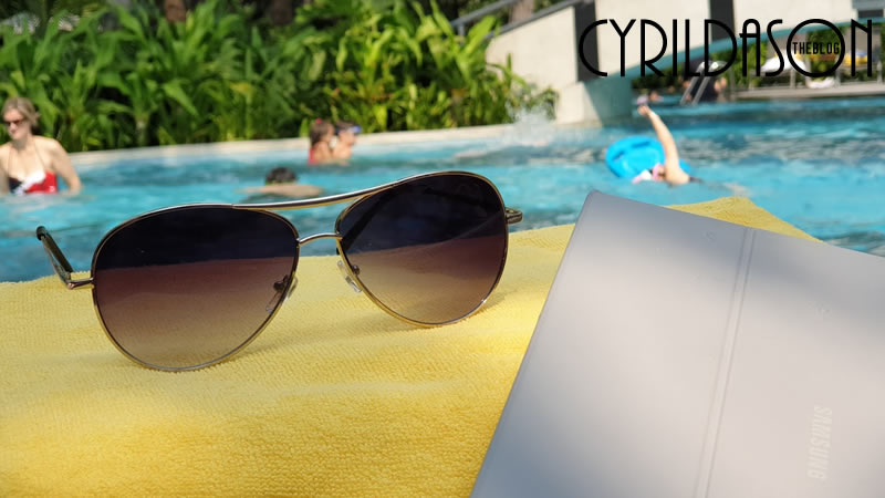 Glasses by the pool
